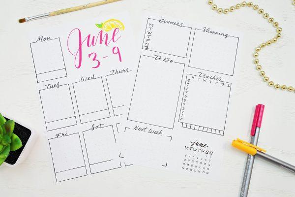 Printable June bullet journal weekly spread.