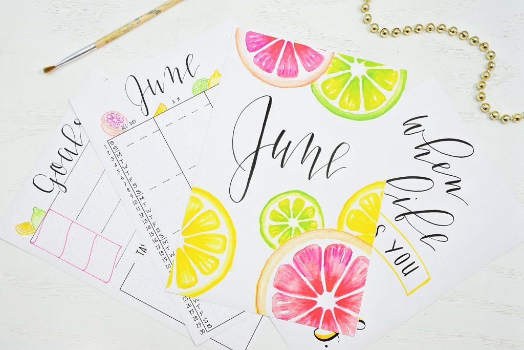 Free printables for a bullet journal in June.