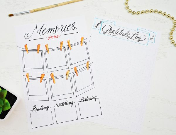 Printable Memories page and gratitude log for a bullet journal