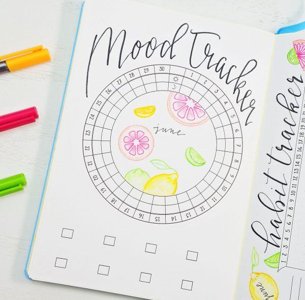 Mood tracker for June in a bullet journal