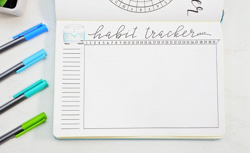 July bullet journal printable habit tracker