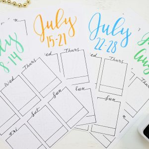 Printable weekly spreads for July 2019.