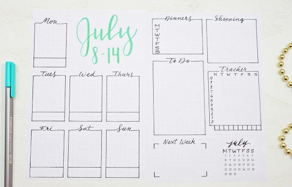 Printable July weekly spread.