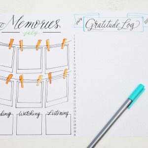 Printable july bullet journal spreads for tracking memories and gratitude.