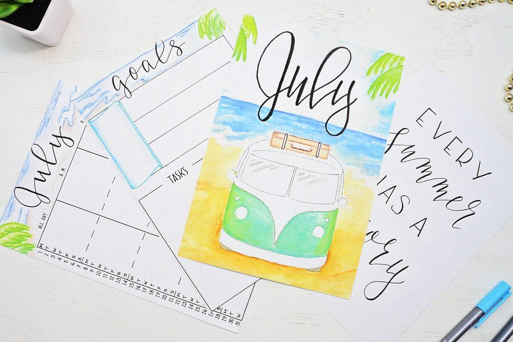 Free July bullet journal printables.