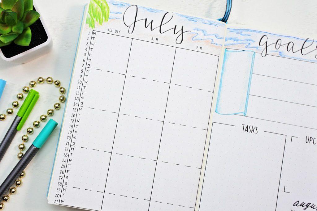 Printable July calendar for a bullet journal.