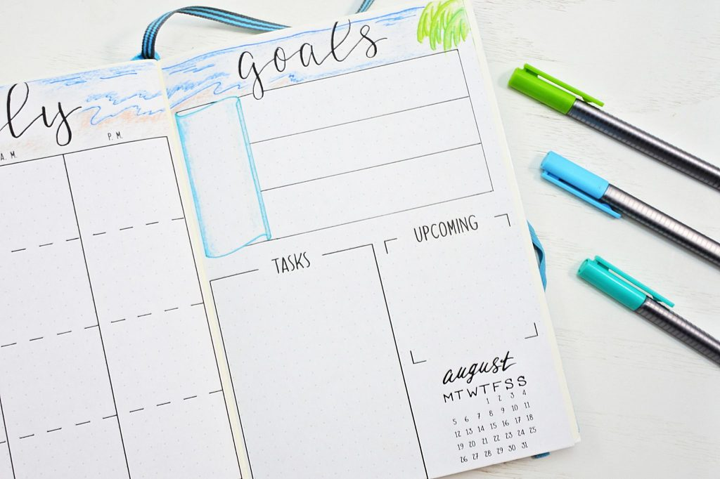 Printable july monthly spread for goals and to-do list.
