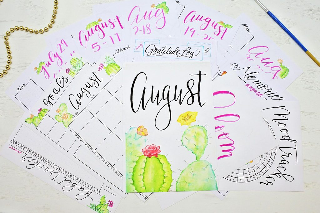 printable bullet journal setup for august