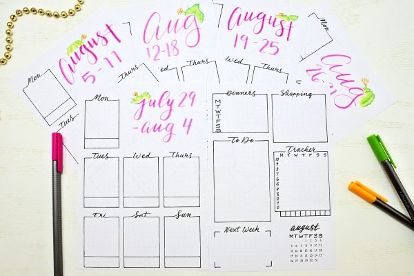 printable weekly spreads for a bullet journal