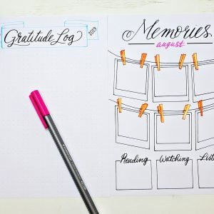 printable gratitude log and memories page