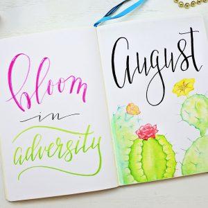 August bullet journal cover page and quote.