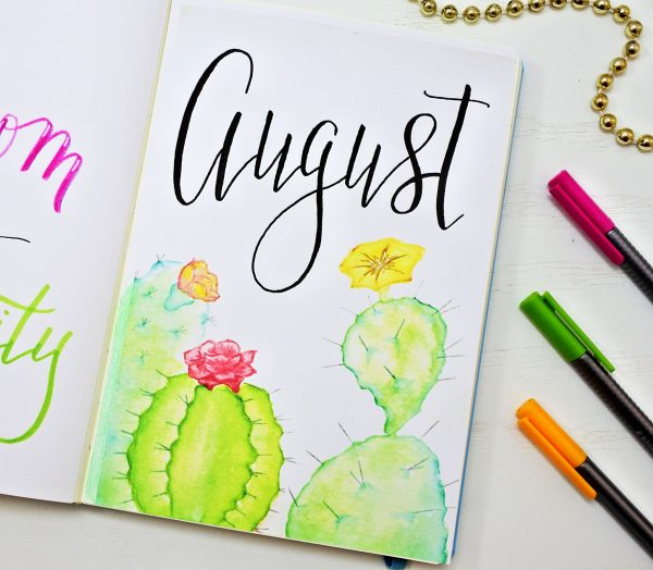 AUGUST BULLET JOURNAL COVER PAGE