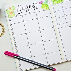 august bullet journal monthly calendar