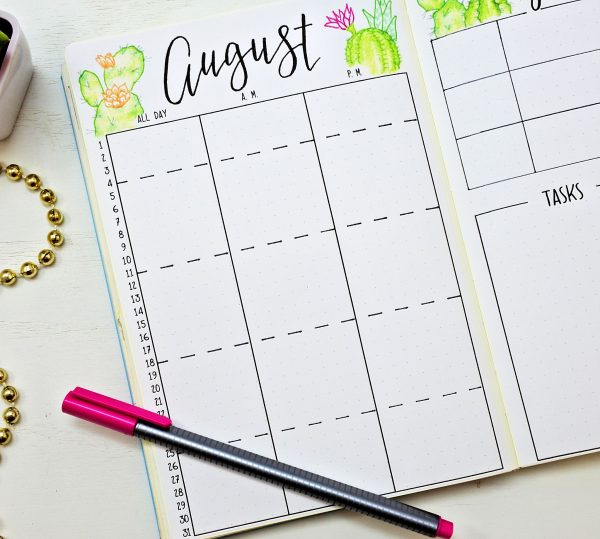 august bullet journal monthly calendar
