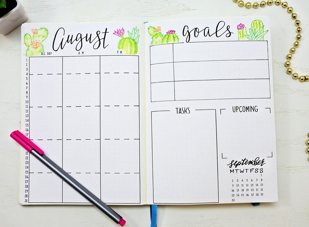 August bullet journal setup calendar