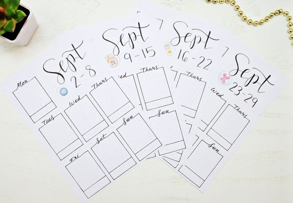 Bullet journal weekly spreads for September.