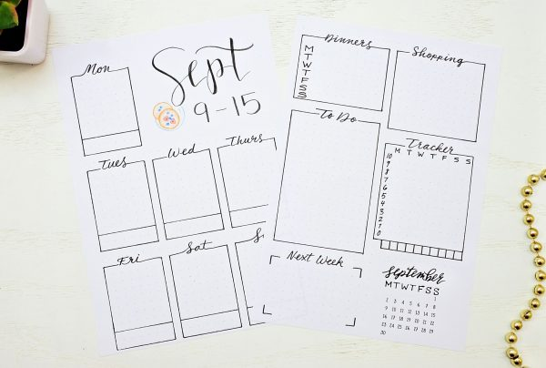 Printable bullet journal weekly spreads for September.
