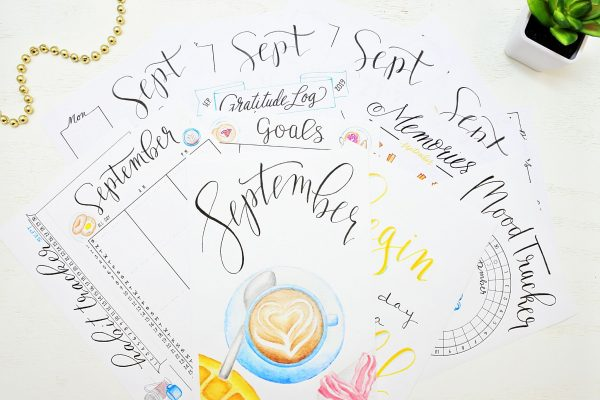 Printable September bullet journal setup.