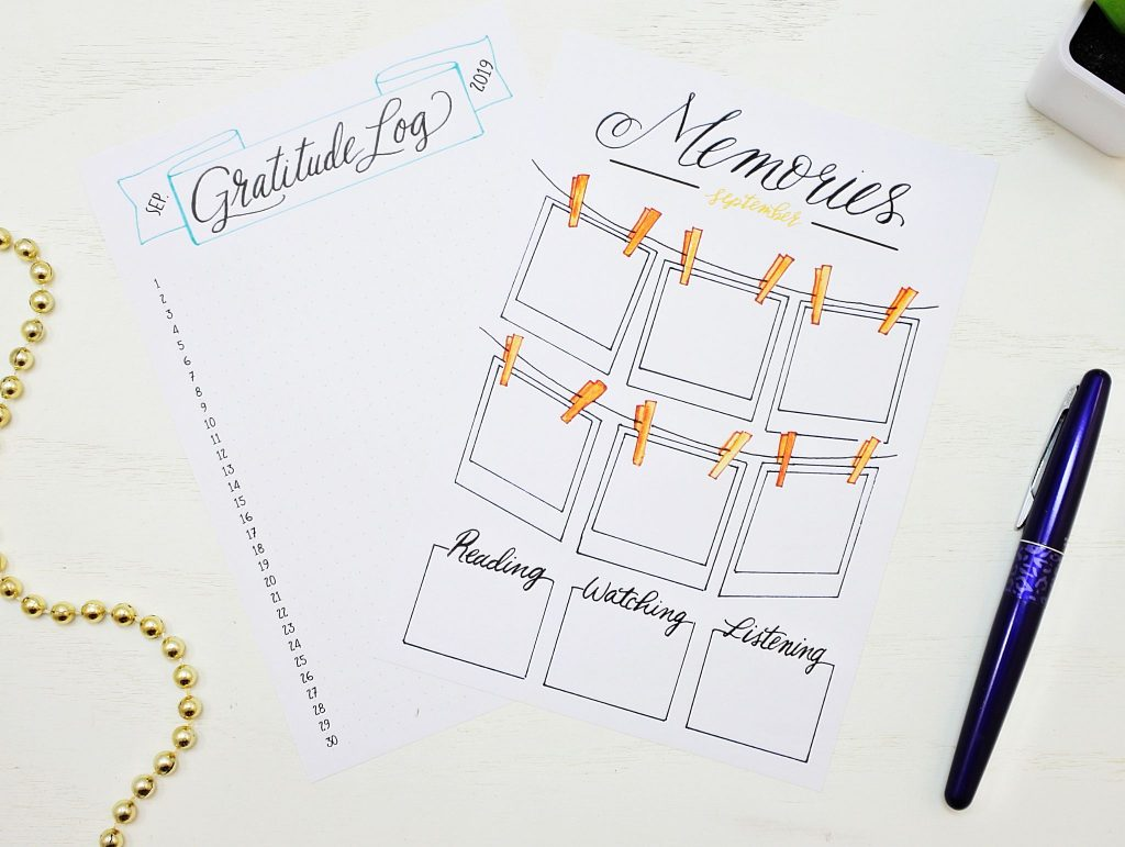 Printable gratitude log and memories page for a bullet journal.