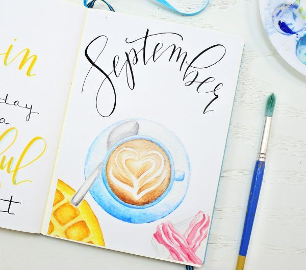 September bullet journal cover page.