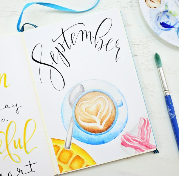 Printable bullet journal cover page for September.