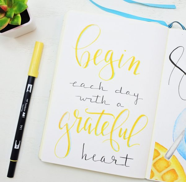 Hand lettered quote for bullet journal.