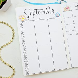Pritnable bullet journal monthly calendar for september.