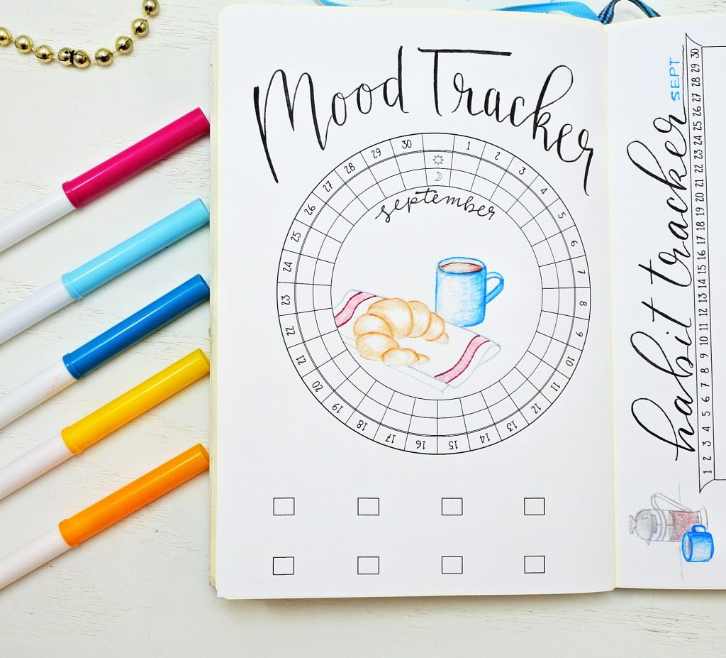 Bullet journal setup circular mood tracker.
