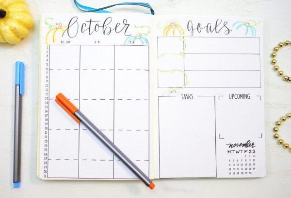 October bullet journal calendar and goals.