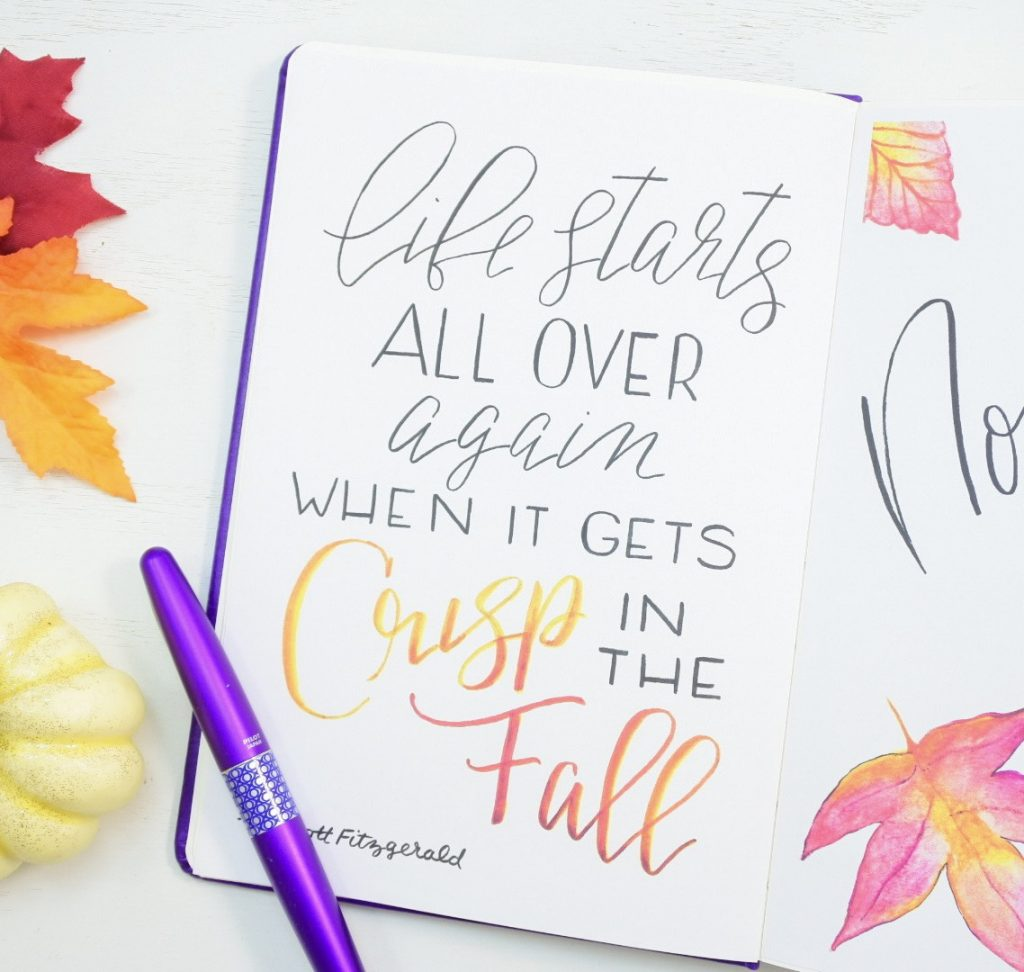 Bullet journal hand lettered quote.