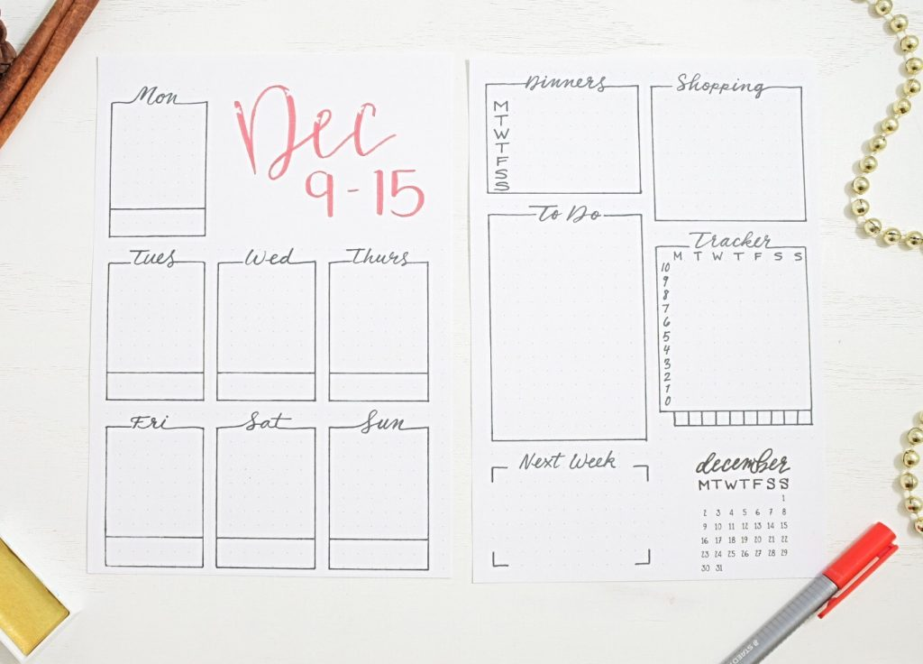 Printable december bullet journal weekly spread