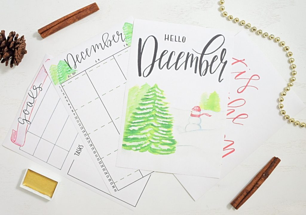 Free December bullet journal printables
