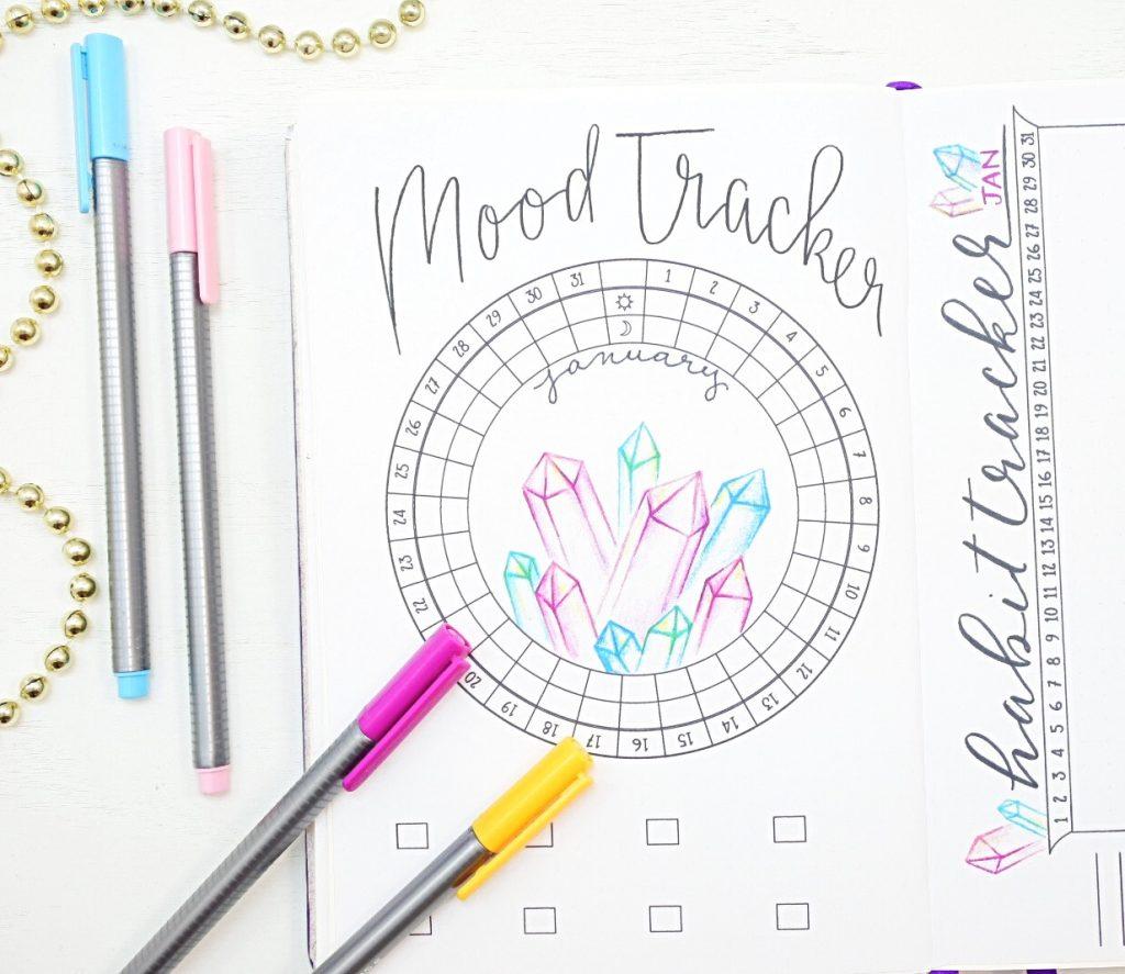 January bullet journal mood tracker