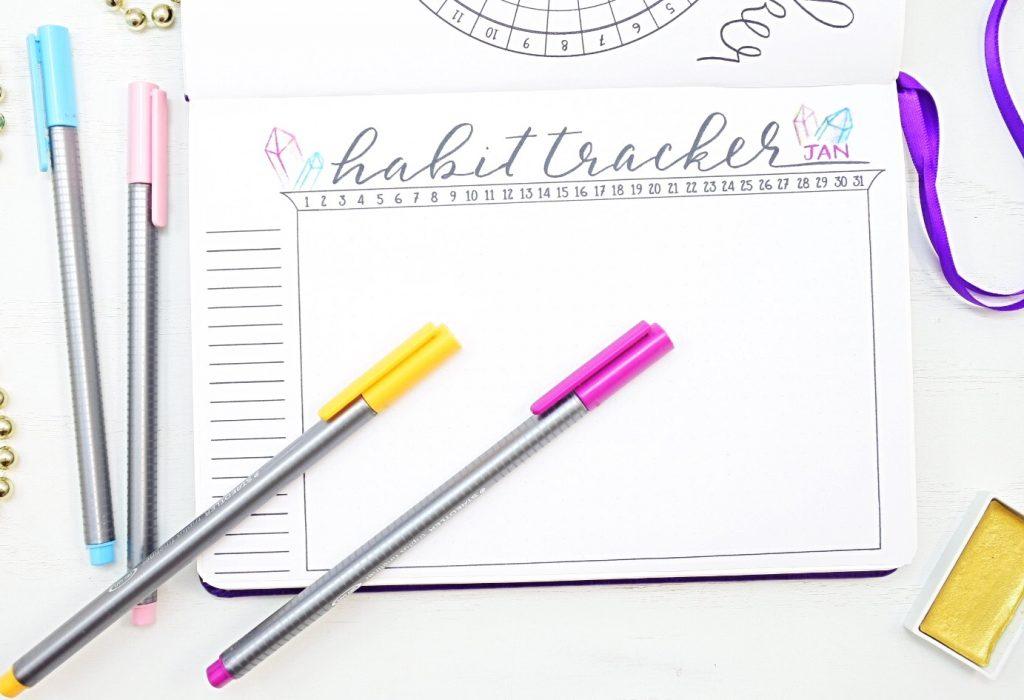 January bullet journal habit tracker
