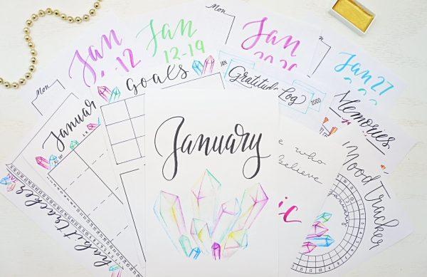 January bullet journal printables