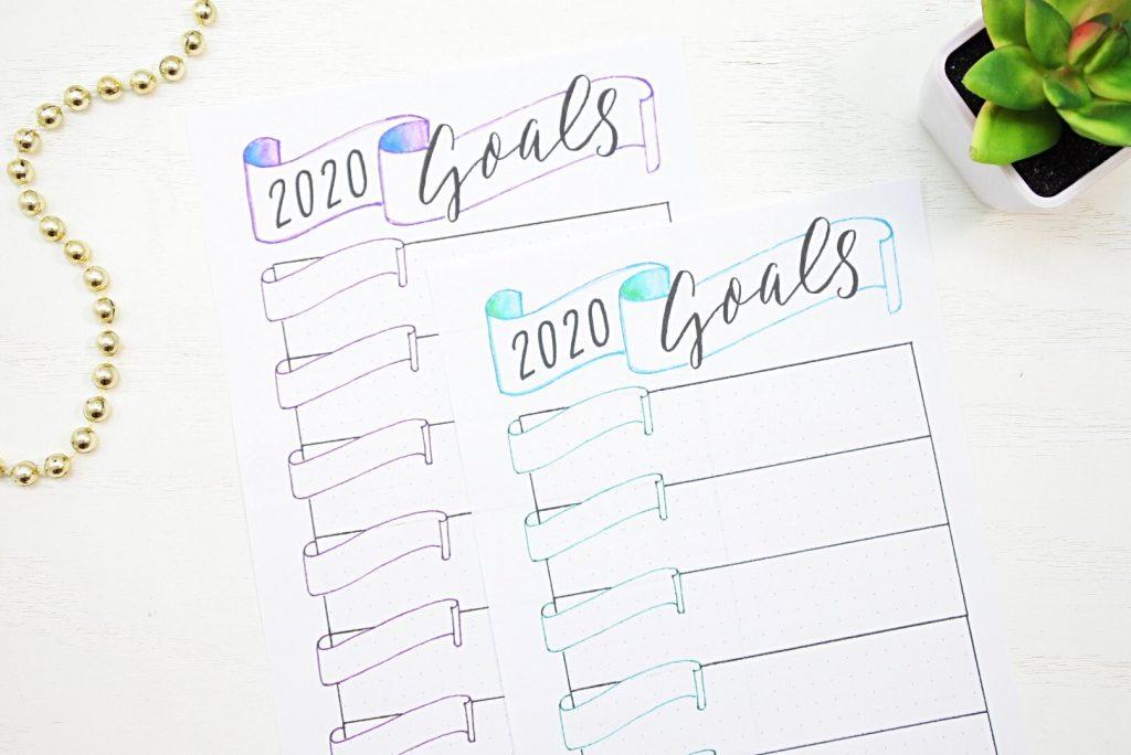 Printable 2020 bullet journal goals