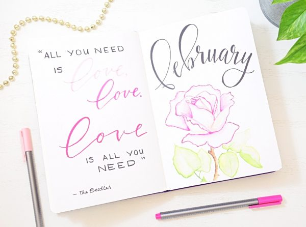 February bullet journal cover pages.