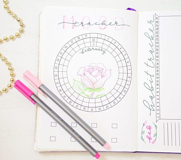 Bullet journal circular mood tracker