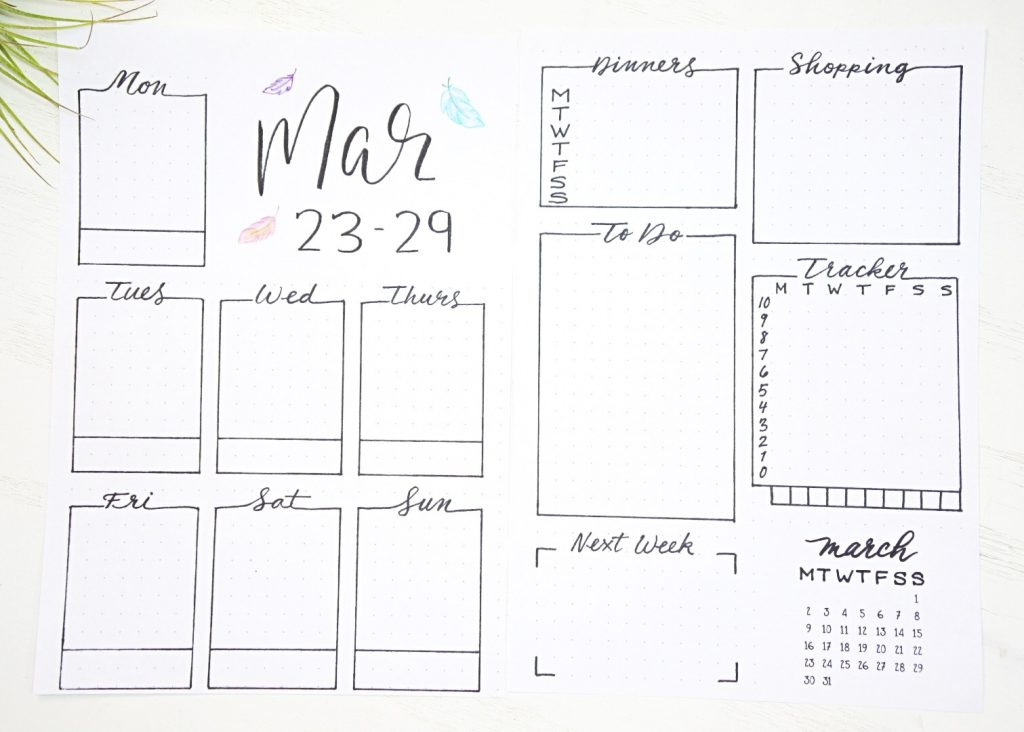 Bullet journal weekly spreads march 2020