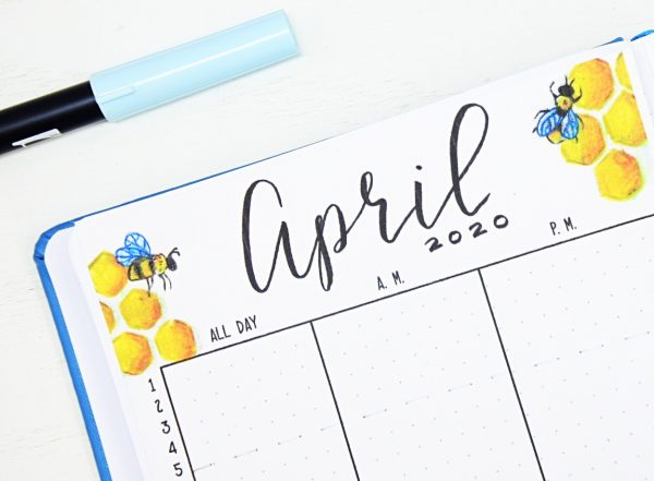 April bullet journal theme bees