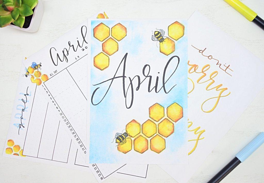 Free bullet journal printables for April
