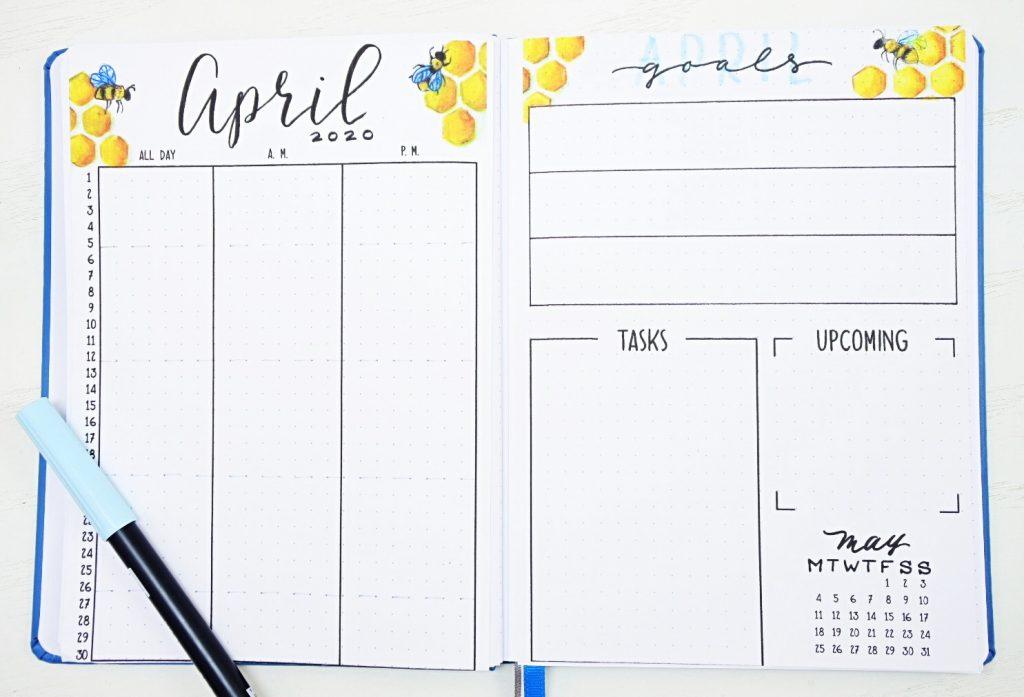 April bullet journal calendar
