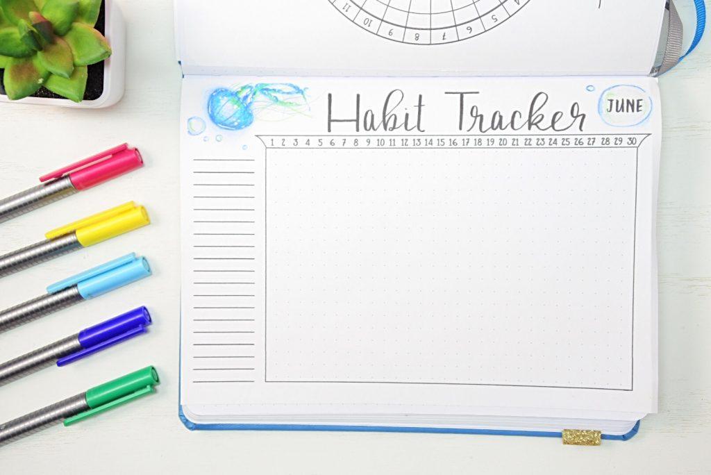 June habit tracker bullet journal