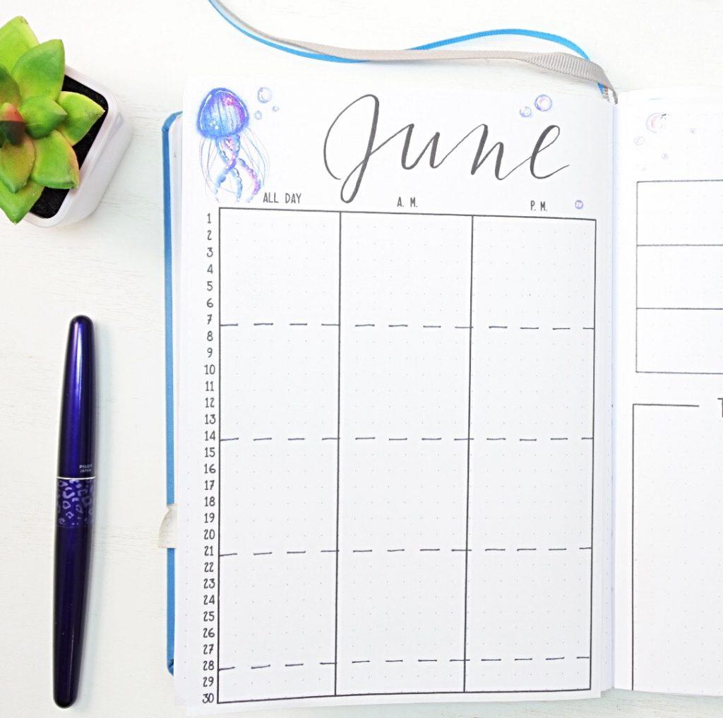 June bullet journal calendar