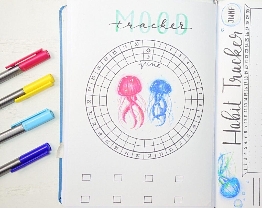 June circular mood tracker